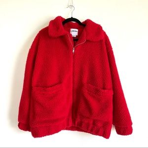 Urban Outfitters Red Fuzzy Oversized Zip-up